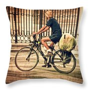 The Bicycle Rider - Leon Spain Throw Pillow