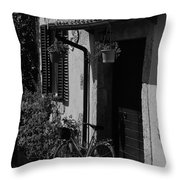The Bicycle Under The Porch Throw Pillow