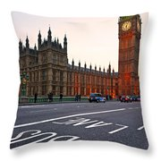 The Big Ben Bus Lane - London Throw Pillow