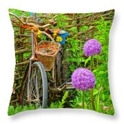 The Bike In The Garden Throw Pillow