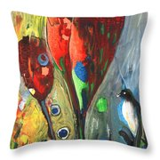 The Bird And The Tulips Throw Pillow