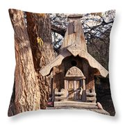 The Birdhouse Kingdom - The Orange-crowned Warbler Throw Pillow
