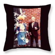 New Orleans The Birds And Alfred Hitchcock Mardi Gras Day In The French Quarter In Louisiana Throw Pillow