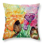 The Birds Of Spring Shower Blessings On You Throw Pillow