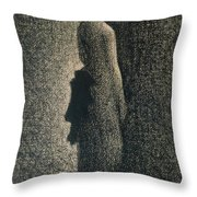 The Black Bow Throw Pillow by Georges Pierre Seurat