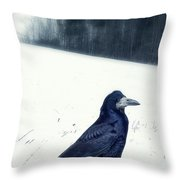The Black Crow Knows Throw Pillow