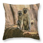 The Black-faced Vervet Monkey Throw Pillow