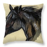 The Black Horse Throw Pillow