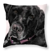 The Black Lab Sweetheart Throw Pillow