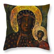 The Black Madonna Throw Pillow by Andrzej Szczerski