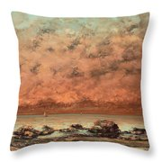 The Black Rocks At Trouville Throw Pillow