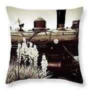 The Black Steam Engine Throw Pillow