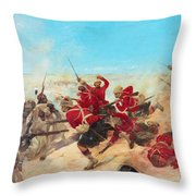 The Black Watch At The Battle Throw Pillow by Henri-Louis Dupray