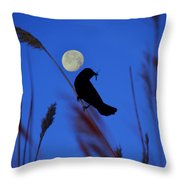 The Blackbird And The Moon Throw Pillow