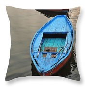 The Blue Boat Throw Pillow by Kim Bemis