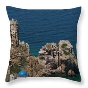 The Blue Domed Church At The Water S Throw Pillow
