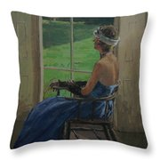 The Blue Dress, 2009 Oil On Canvas Throw Pillow