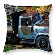The Blue Farm Truck Throw Pillow