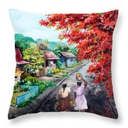 The Blue Fence        Sold Throw Pillow