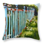 The Blue Fence Throw Pillow