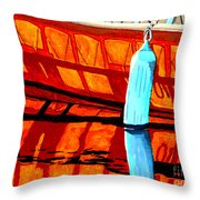 The Blue Fender Throw Pillow