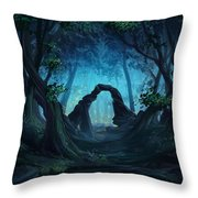 The Blue Forest Throw Pillow by Cassiopeia Art