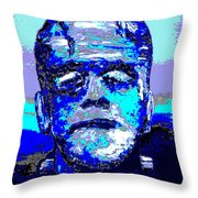 The Blue Monster Throw Pillow