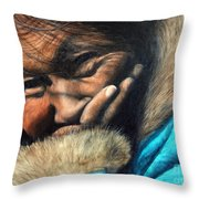 The Blue Parka Throw Pillow