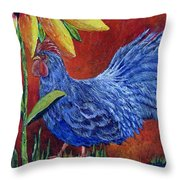 The Blue Rooster Throw Pillow