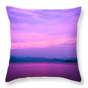 The Blue Sky And River Throw Pillow