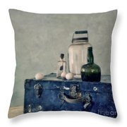 The Blue Suitcase Throw Pillow