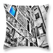 The Blue Window In Venice - Italy Throw Pillow