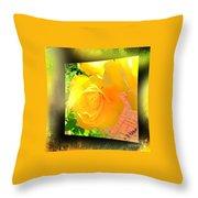 The Blushing Yellow Rose Throw Pillow