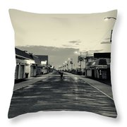 The Boardwalk Before Sunrise In Sepia Throw Pillow