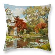 The Boathouse Throw Pillow by Alfred Parsons