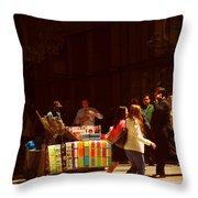 The Bookseller - New York City Street Scene - Street Vendor Throw Pillow