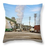 The Borax Plant And Locomotive Throw Pillow
