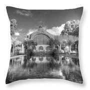 The Botanical Building In Black And White Throw Pillow