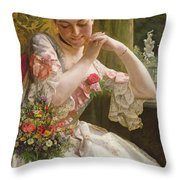 The Bouquet Throw Pillow by Albert Raudnitz