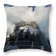 The Bow Of Uss Cowpens Plows Throw Pillow