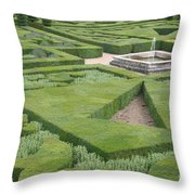 The Boxwood Garden At Chateau Villandry Throw Pillow
