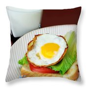 The Breakfast Little People On Food Throw Pillow