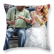 The Bride Plays The Trumpet- Destination Wedding New Orleans Throw Pillow