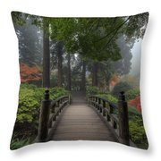 The Bridge In Japanese Garden Throw Pillow