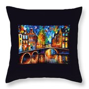 The Bridges Of Amsterdam - Palette Knife Oil Painting On Canvas By Leonid Afremov Throw Pillow