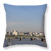 The British Airways London Eye And Westminster Bridge In London England Throw Pillow
