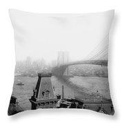 The Brooklyn Bridge 1902 Throw Pillow