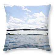 The Brooklyn Bridge And East River Throw Pillow