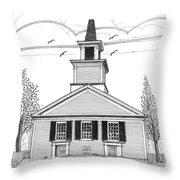 The Brownington Congregational Church Throw Pillow by Richard Wambach