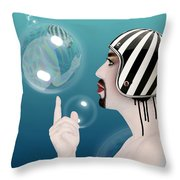 the Bubble man Throw Pillow by Mark Ashkenazi